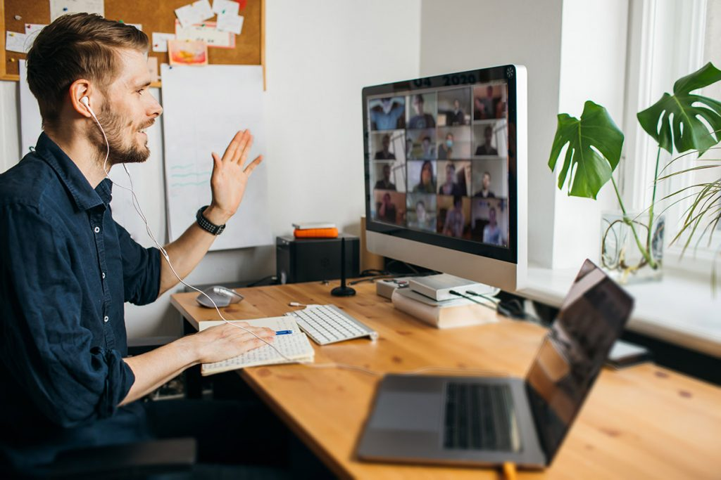 Future of work. Business video conferencing.